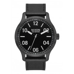 MONTRE NIXON PATROL LEATHER - BLACK / SILVER / BACK