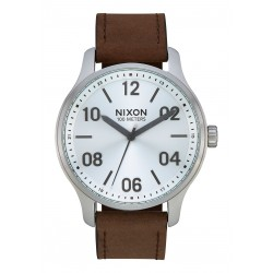 MONTRE NIXON PATROL LEATHER - SILVER / BROWN