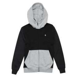 SWEAT VOLCOM ZIP SINGLE STONE COLORBLOCK KID - BLACK / GREY