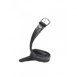 CEINTURE MAKIA BRAIDED LEATHER BELT - BLACK