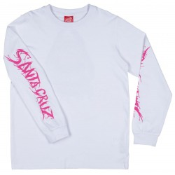 T-SHIRT SANTA CRUZ YOUTH SPEED WHEELS SHARK L/S - WHITE