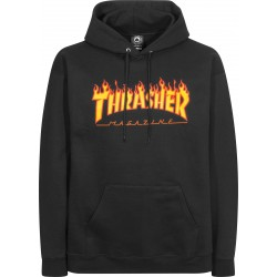 SWEAT THRASHER FLAME HOOD BLACK