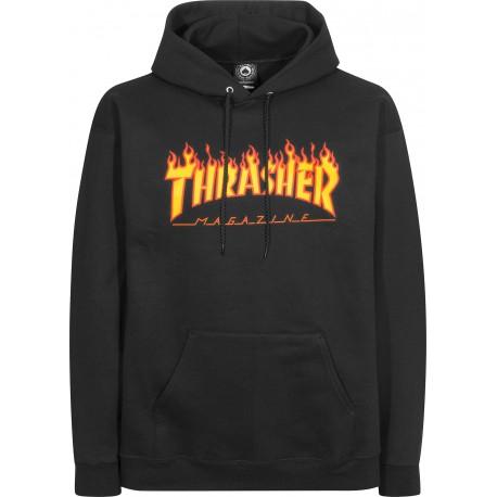 SWEAT THRASHER FLAME HOOD BLACK