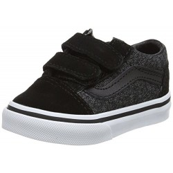 CHAUSSURES VANS OLD SKOOL V ENFANT - BLACK SUEDE & SULTING