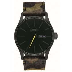 MONTRE NIXON SENTRY LEATHER - BLACK CAMO VOLT