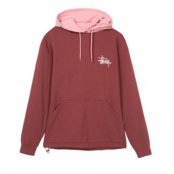 SWEAT STUSSY TWO TONE HOOD - BURGUNDY