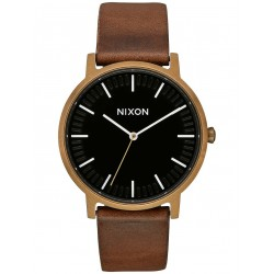 MONTRE NIXON PORTER LEATHER - BRASS BLACK BROWN