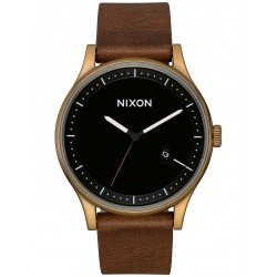 MONTRE NIXON STATION LEATHER - BRASS BLACK BROWN
