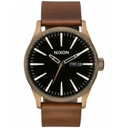 MONTRE NIXON SENTRY LEATHER - BRASS BLACK BROWN