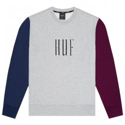 SWEAT HUF CREVASSE CREW - GREY HEATHER