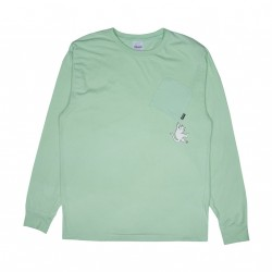 T-SHIRT RIP N DIP HANG IN THERE POCKET L/S - MINT