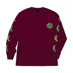 T-SHIRT SANTA CRUZ TMNT SEWER DOT LS - BURGUNDY