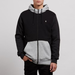 SWEAT VOLCOM SINGLE STONE SHERPA LINED HOOD ZIP - BLACK COMBO