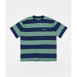 T-SHIRT POLAR SKATE CO STRIPED SURF - DARK BLUE SUMMER GREEN