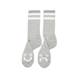 CHAUSSETTES POLAR SKATE CO HAPPY SAD SOCKS - HTHR GREY