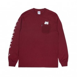 T-SHIRT RIPNDIP LORD NERMAL POCKET L/S - BURGUNDY