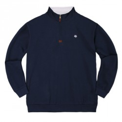 SWEAT MAGENTA NECK ZIP CLUB - CLUB NAVY