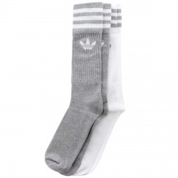 CHAUSSETTES ADIDAS SOLID CREW 2PP - GREY WHITE