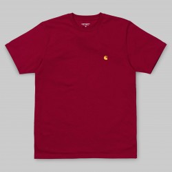 T-SHIRT CARHARTT S/S CHASE - COMBED CARDINAL/GOLD