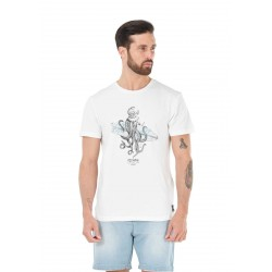 T-SHIRT PICTURE ORGANIC OCTOPUS - WHITE