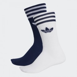 CHAUSSETTES ADIDAS SOLID CREW 2PP - BLUE WHITE
