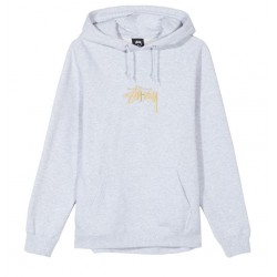 SWEAT STUSSY STOCK LOGO APPLIQUE HOOD - ASH HEATHER