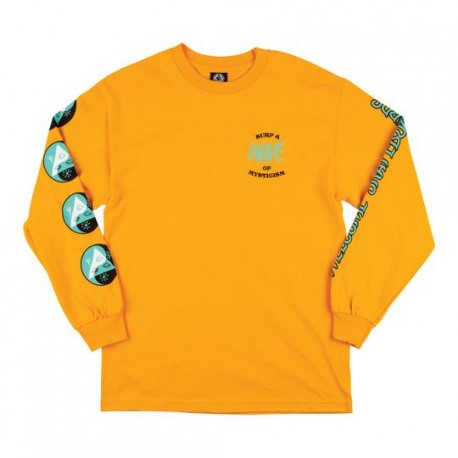 T-SHIRT WELCOME WAVES LS - GOLD TEAL BLACK
