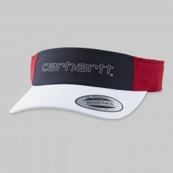 CASQUETTE CARHARTT WIP TERRACE VISOR - NYLON WHITE DARK NAVY CARDINAL