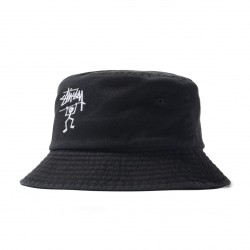 BOB STUSSY WARRIOR MAN BUCKET HAT - BLACK