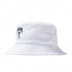 BOB STUSSY WARRIOR MAN BUCKET HAT - WHITE