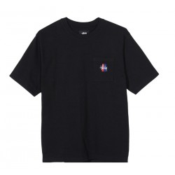 T-SHIRT STUSSY 2 BAR STOCK CREW - BLACK