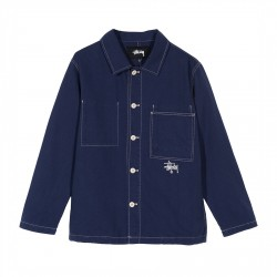 VESTE STUSSY CANVAS SHOP JACKET - NAVY