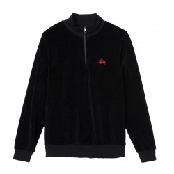 SWEAT STUSSY VELOUR LS ZIP MOCK - BLACK
