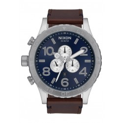 MONTRE NIXON CHRONO LEATHER 51MM - BLUE SUNRAY / BROWN