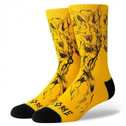 CHAUSSETTES STANCE X WELCOME SURFSKATE WOLVES - YELLOW BLACK