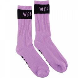 CHAUSSETTES WELCOME SUMMON SOCKS - LILAC BLACK