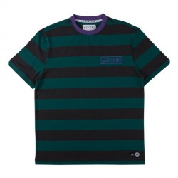 T-SHIRT WELCOME BIG BEAUTIFUL STRIPE - BLACK DARK TEAL PURPLE