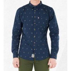 CHEMISE PICTURE ORGANIC TRAVELER LS - DARK BLUE CAMP