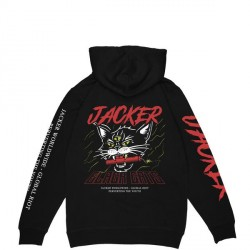 SWEAT JACKER SAVAGE CAT HOODIE - BLACK