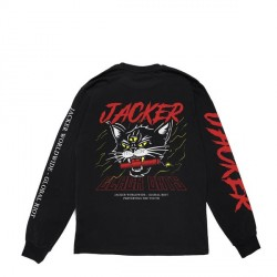 T-SHIRT JACKER SAVAGE CAT LS - BLACK