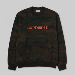 SWEAT CARHARTT WIP CREW - CAMO EVERGREEN BRICK ORANGE
