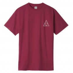 T-SHIRT HUF DYSTOPIA TRIPLE TRIANGLE SS - ROSE WOOD RED