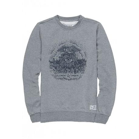 SWEAT ELEMENT TOO LATE STUMP CREW - GREY HEATHER