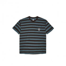 T-SHIRT POLAR STRIPE POCKET TEE - BROWN BLUE