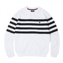 SWEAT MAGENTA MARINIERE - WHITE BLACK