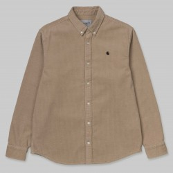 CHEMISE CARHARTT WIP MADISON CORD SHIRT LS - COTTON WALL BLACK