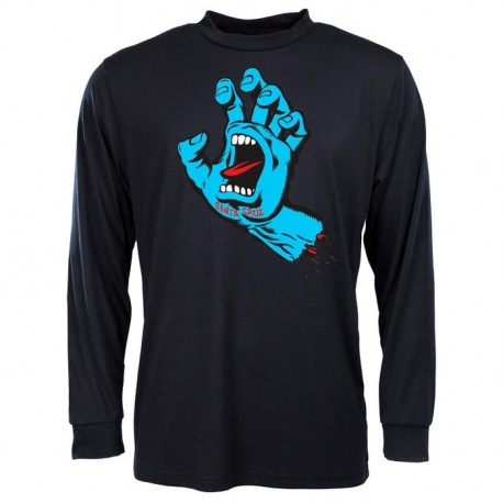 T-SHIRT SANTA CRUZ SCREAMING HAND LS - BLACK