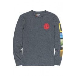 T-SHIRT ELEMENT X NAT GEO STOCKADE LS - CHARCOAL HEATHER