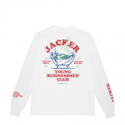 T-SHIRT JACKER BUSINESS CLUB MANCHES LONGUES - WHITE - DARK RED
