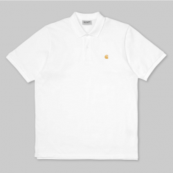 POLO CARHARTT WIP CHASE PIQUE - WHITE GOLD